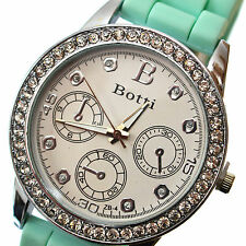 Watch Quartz Wrist Women Crystal Analog Mint & Silver Analog Quartz Wrist Watch