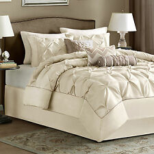 King Size Bedding Comforter Set 7 Piece Ivory Luxury Sheets Bedskirt Laurel New
