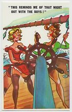 SAUCY POSTCARD - seaside comic, sexy women boobs stockings suspenders ship #C794