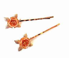 2 x Rose Gold Flower Hair Grips Baroque Flower Bobby Pins Clips Bridal Vtg 1180