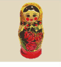 CROSS STITCH KIT - RUSSIAN DOLL    8 CM X 18 CM 14 COUNT