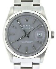 Rolex Datejust Mens Stainless Steel Watch Oyster Domed Bezel Gray Dial 16000