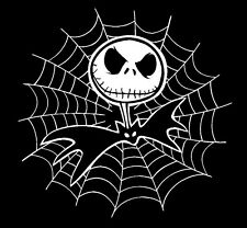 "JACK SKELLINGTON with SPIDER WEB 5""x 5"" CAR DECAL STICKER (comes in a pair)"