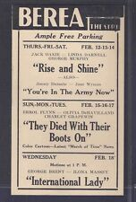 1942 BEREA THEATRE OHIO, YOUR IN THE ARMY NOW W/J DURANTE & J WYMAN, SEE INFO