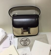 X 2016 NWB AUTHENTIC HERMES SAC CONSTANCE III VEAU BOX MINI 18cm RAISIN.2016