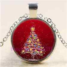 Christmas Tree Photo Cabochon Glass Tibet Silver Chain Pendant Necklace#AD40