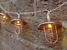 10 LED Battery Powered String of Industrial Copper Lantern Lights. Garden Shed