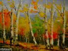"""Oil Painting On Stretched Canvas 12"""" x 16""""- Birch Trees in Fall"""