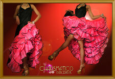 CHARISMATICO Sleek Black a-line cancan costume with hot pink ruffled underskirt