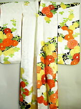 "JAPANESE ART SILK KIMONO ""VINTAGE FURISODE"" CHRYSANTHEMUM EMBROIDERY"
