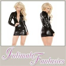 Kitten Sexy  Black Wet Look Dress Black Vinyl Dominatrix Outfit Size 8 10 12
