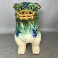 "6"" Chinese Wucai Pottey Porcelain Foo Fu Dog Spirit Evil Guardian Lion Statue"