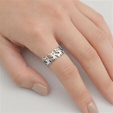 USA Seller Baby Cats Band Ring Sterling Silver 925 Best Deal Jewelry Size 10