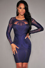 NEW STUNNING BLUE LONG SLEEVE BODY ILLUSION LACE BODYCON DRESS 8 10 12 14 16 UK