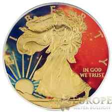 2014 1oz Ounce American Silver Eagle Coin .999 Colorized Gold Gilded Nebula