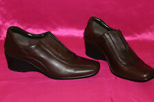 CLARKS cushion soft genuine brown leather platform shoes size 6 UK