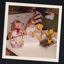 Vintage Photograph Two Adorable Little Girls With Easter Baskets Peeling Eggs