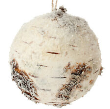 "RAZ Imports 5"" Snowy Faux Birch Ball Ornament For Large Christmas Tree Or Bowl"