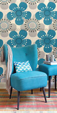 Turquoise, white, silver and black, retro daisy wallpaper
