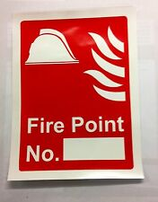 FIRE POINT SIGN SELF ADHESIVE VINYL 150x200mm FACTORY LANDLORD BUSINESS