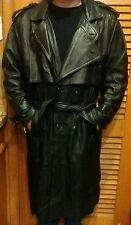 PHASE 2 vintage Trench Coat Long Leather Spy Jacket Mens Size XL black w/ liner