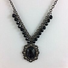 Black Cabachon Pendant Necklace Filigree 1928 Goth Victorian Revival Steampunk