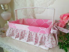 White STORAGE BASKET w/ Handle & PiNK Liner w/Shabby Chic Roses Ruffles NEW!