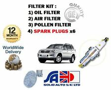 FOR TOYOTA LANDCRUISER 120 4.0 V6 2003-  OIL AIR POLLEN FILTER + SPARK PLUGS