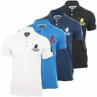 Mens Pique Polo Club Santa Monica T Shirt Plain With Logo