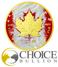 2015 Canadian Maple Patriotic Flag Anniversary 1 Oz Silver Coin - 24K Gold Gilde