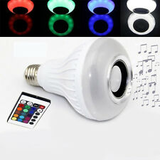 E27 LED RGB Bluetooth Speaker Bulb Wireless Power Music Playing Light Lamp KI