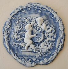 Cherubs,Angels with mandoline.Bas relief.Wall Plaque,Antique reproduction