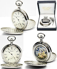 Woodford Twin-Lid Hunter Skeleton Pocket Watch 17 Jewel CP Free Engraving (1094)