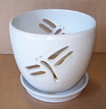 """7"""" WIDE  dragonfly ORCHID PLANTER with attached SAUCER"""
