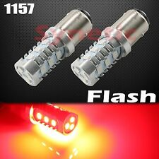 2x 1157 LED 2835 Bright Red Flash Strobe Tail Brake Stop Rear Alert Safe Lights