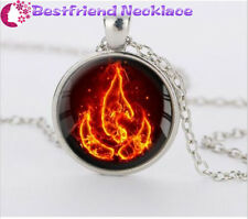 Silver Avatar the Last Airbender Fire Nation Glass Dome Pendant Necklace#T11