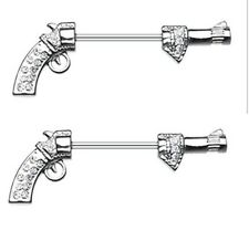 Nipple Shield Rings Bling Revolver Gun Nipple Barbell Barbell pair 14g 5/8''