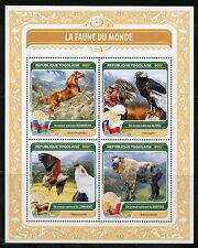 TOGO 2016  FAUNA OF THE WORLD OFFICIAL BIRD OR ANIMAL FROM CHILE, BHUTAN SHEET
