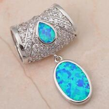 Women's Huge fashion jewelry Blue fire Opal Silver Necklace Pendants OP252