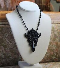 Finest Rare 19thC Antique Victorian French Jet Cameo Pendant Mourning Necklace