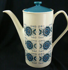 Vintage Johnson Bros Brothers England White  Porcelain Blue Pattern Coffe pot