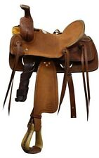 Showman™ youth Roping saddle with braided basket weave tooling