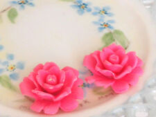 #827B Vintage Cabochon Pink Flower ONS Flowers Roses Shabby Flowers Celluloid