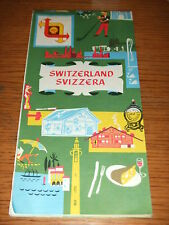 RARE VINTAGE 1960 PROMO Shell Oil Gas Switzerland Highway Road Map Tourist Guide