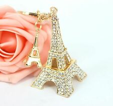 Lovely Eiffel Tower Rhinestone Crystal Charm Pendant Puse Bag Car Key Ring Chain