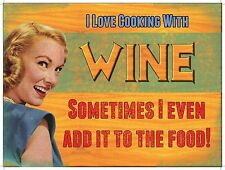 Cooking with Wine Retro Girl, Funny/Humorous Classic, Quality Fridge Magnet