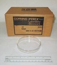 12 NEW Corning 3160-101BO Glass Pyrex Petri Dish Dishes Bottoms, 100x15