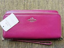 New Authentic NWT Coach 52103 cyelamen LEATHER DOUBLE ACCORDION ZIP Wallet