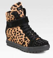 MIU MIU calf hair LEOPARD print high-top hidden wedge sneakers 40/10