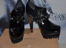 "PARTY "" KURT GEIGER""BLACK 100% LEATHER Shoe Boots Booties   METALLIC  SPIKES 3"